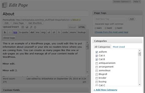 wordpress theme list categories add tags and categories to your wordpress page