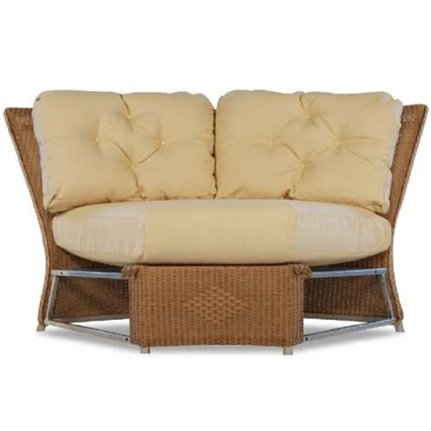 Traditional Curved Sofa by Lloyd Flanders Wicker Furniture Reflections Sectional