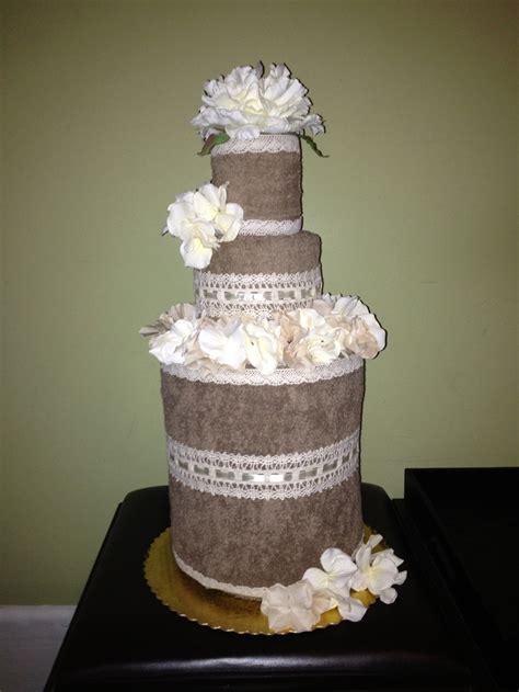 Bridal Shower Idea Towel Wedding Cake by My Towel Cake Bridal Shower Ideas