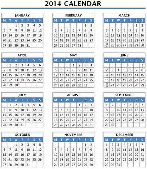 2014 year calendar template 12 months in one page ms