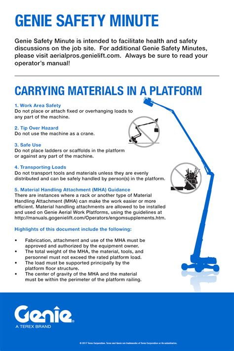 mewp safety toolbox talks aerial lift safety genie