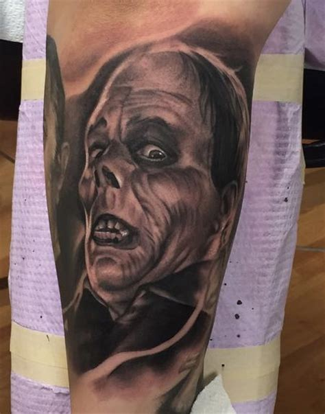 black and grey horror tattoos realistic black and gray portrait from horror movie tattoo