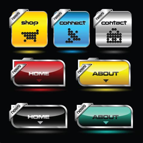 design menu buttons 暗い 色 メニュー ボタン ため ウェブサイト ベクター 02 無料ベクター素材サイトのサシアゲル