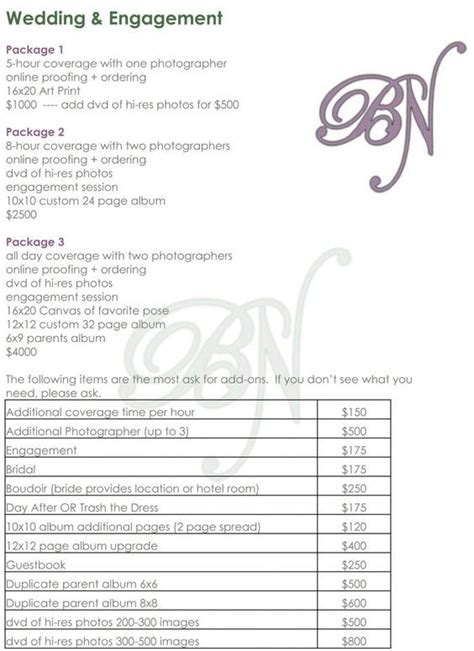 Wedding Checklist And Prices by Wedding Photography Checklist Template Atlanta Wedding