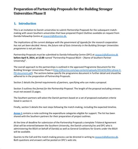 sle partnership proposal 15 documents in pdf