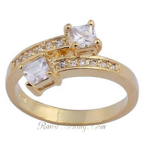 Cincin Emas Kuning Model Air cincin wanita ring 6 model white sapphire gold filled