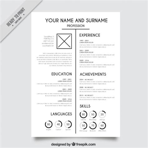 Resume Template Vector by White Resume Template Vector Free