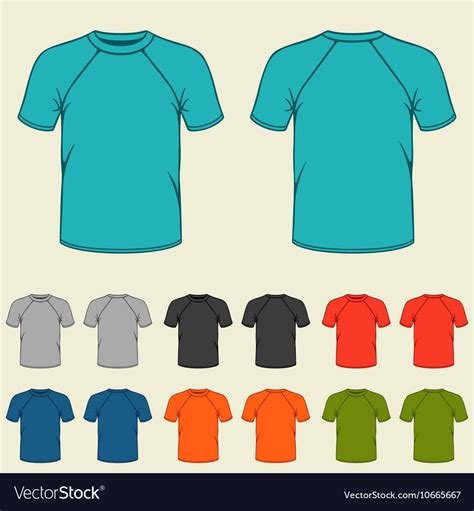 Set Of Colored T Shirts Templates For Men Royalty Free Vector Image Vectorstock Teal T Shirt Template