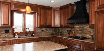 cherry cabinets and backsplash kitchen