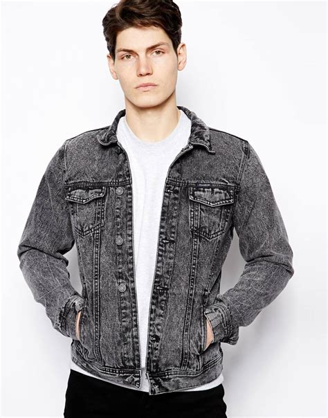 Jaket Wash Pull Quality lyst pull denim jacket in acid wash in gray for