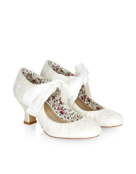 Monsoons Florence Vintage Inspired Court Shoes by Grace Satin Bow Lace Dolly Shoe Ivory Monsoon 163 90