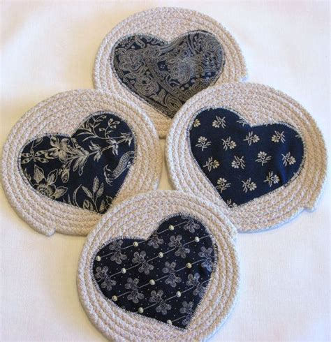 Shabby Blue Coaster coiled fabric coasters mug rugs trivets shabby chic blue navy beige cup candle