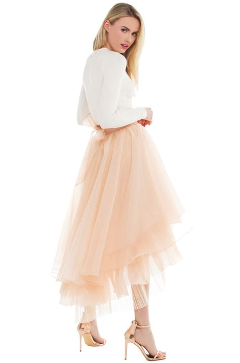 gracia sheer layered high low tulle skirt in pink lyst