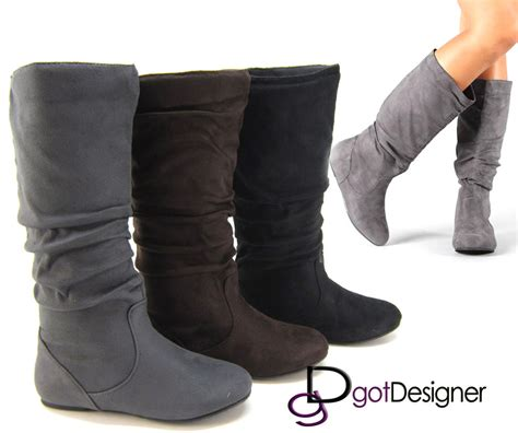 womens boots knee high fashion slouch stylish shoes flat