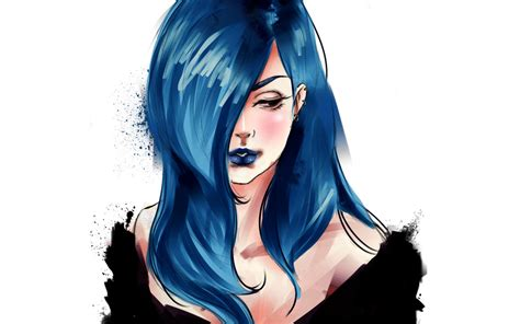 wallpaper blue hair art women blue hair manga wallpaper wallpaperlepi