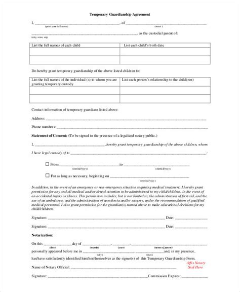 guardianship form guardianship forms 9 free pdf word free premium