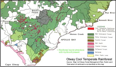 rainforest map map of cool temperate rainforest in the otways