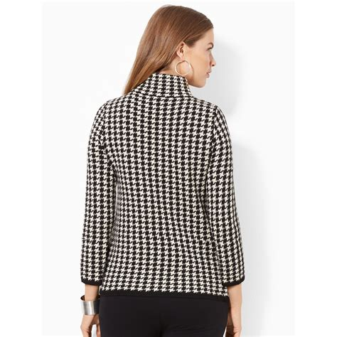 White Shirt Layer Houndstooth by ralph houndstooth turtleneck sweater in white lyst