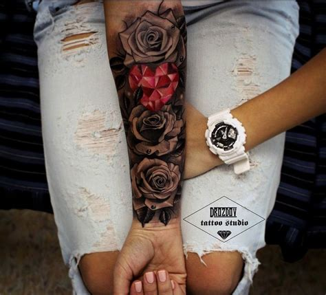 female rose sleeve tattoo roses pink crystals
