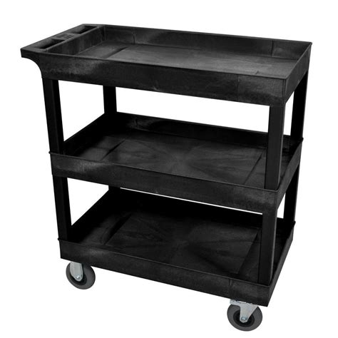 husky 16 in 2 shelf utility cart black 1866880 the