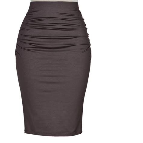 plus size knit cotton high waisted ruched pencil skirt