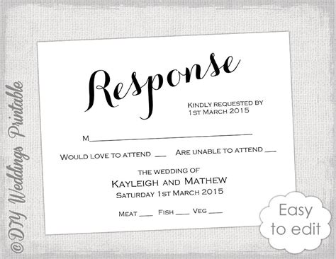 response card wedding template rsvp template diy calligraphy carolyna printable