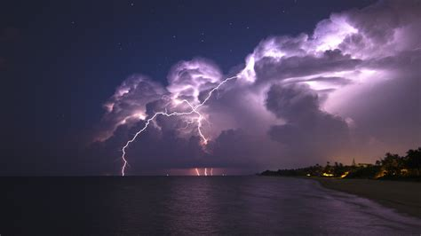 Galaxy Lighting Nature Landscape Clouds Lightning Storm Horizon Sea