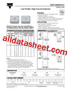 vishay inductors datasheet ihlp 5050ce 01 datasheet pdf vishay siliconix