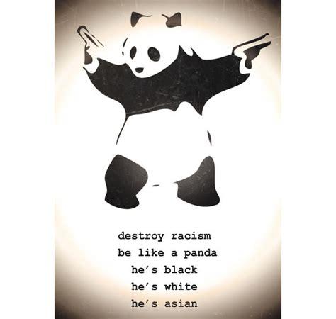St Pandablack destroy racism banksy poster panda poster kleinformat jetzt im shop bestellen up gmbh