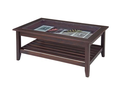 glass top display coffee table furniture manchester wood