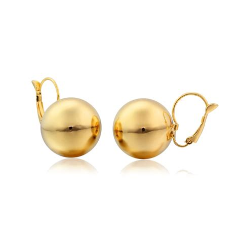 Fashion Earrings E21256 Yellow new yellow gold color big mirror drop hoop huggie earrings for womens fashion jewelry