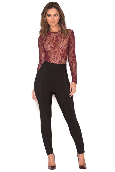 Sheer Lace Bodysuit clothing bodysuits zeniya wine sheer lace bodysuit