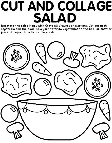 crayola coloring pages food cut and collage salad coloring page crayola com