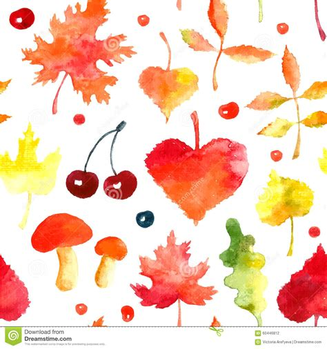 watercolor seamless pattern with pink and orange autumn watercolor autumn pattern stock vector image 60446812