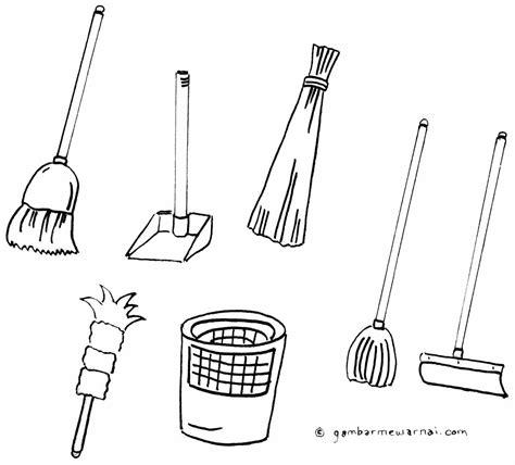mewarnai gambar alat kebersihan gambar mewarnai