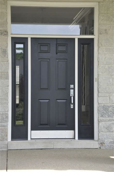 Simple Black Front Door With Glass Surround Elegant Black Front Doors With Glass