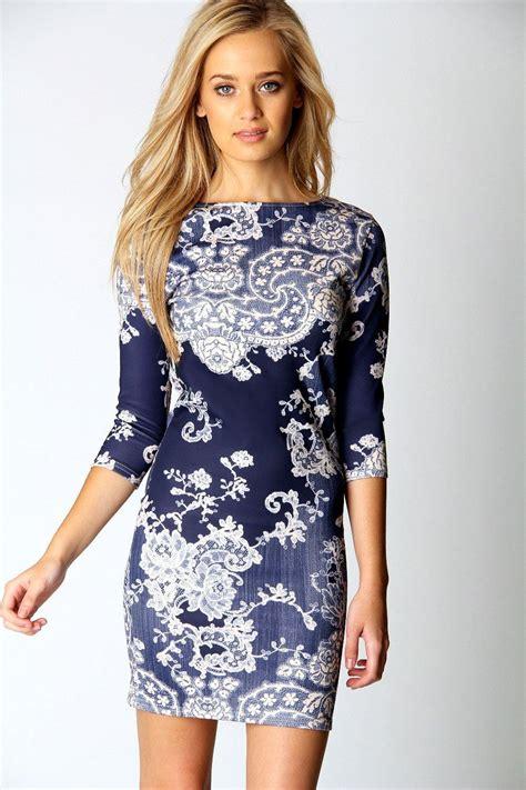 pattern dress boohoo darcey printed sleeve bodycon dress at boohoo com