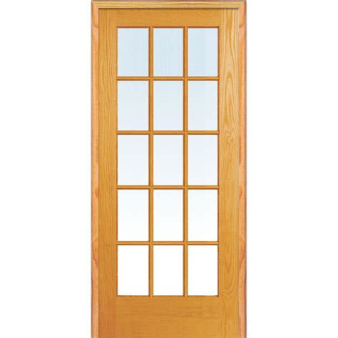 Glass Door For Home Mmi Door 30 In X 80 In Left Unfinished Pine Glass 15 Lite Clear True Divided Single