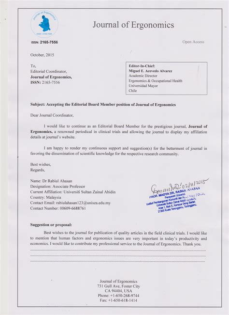 Acceptance Letter For Journal Publication Editors Journal Of Ergonomics Editorial Board