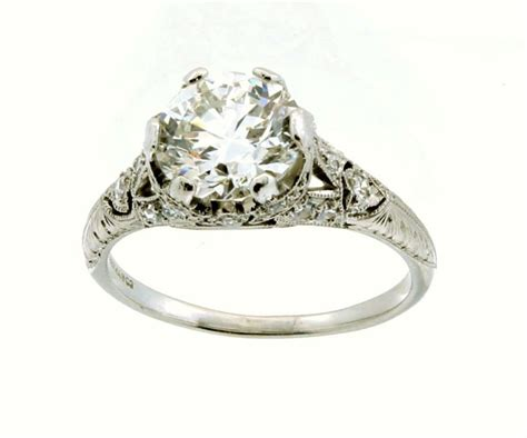 vintage deco platinum engagement