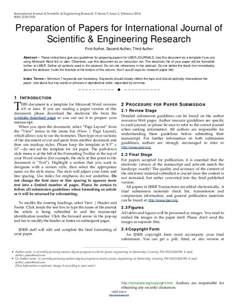 Scientific Paper Word Template ijser template international journal of scientific