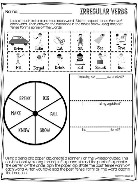 printable games for past tense no prep irregular past tense verb freebie worksheets