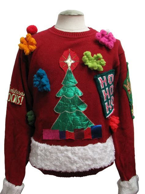 ugly christmas sweater l l bean unisex red background