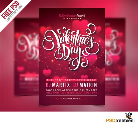 download free free valentines party flyer psd template
