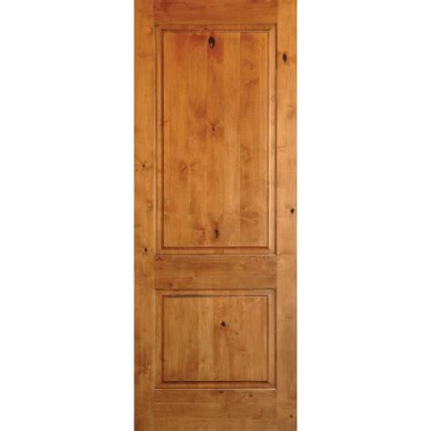 24 interior door krosswood doors 24 in x 96 in rustic knotty alder 2 panel square top solid wood left