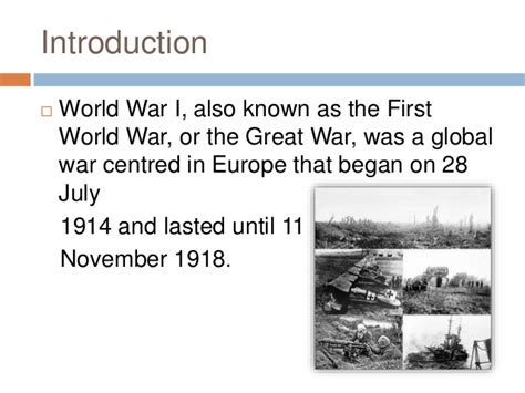 brief introduction to ww1 world war 1 for grade 7 8 and 9