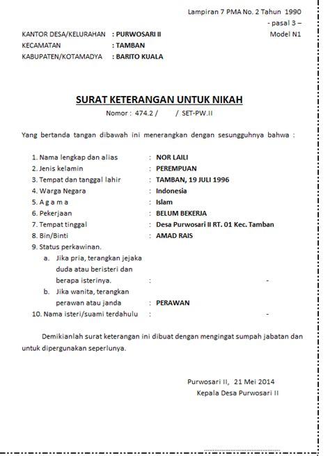 Contoh Surat Numpang Nikah Dari Kelurahan Harga Lokal