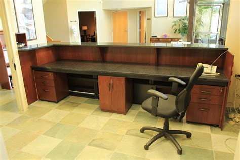 built in reception desk handmade custom made zodiac and walnut reception desk by r