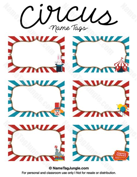 carnival themed names printable circus name tags
