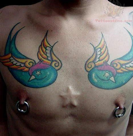 heart tattoo on nipple piercing and tattoos on chest